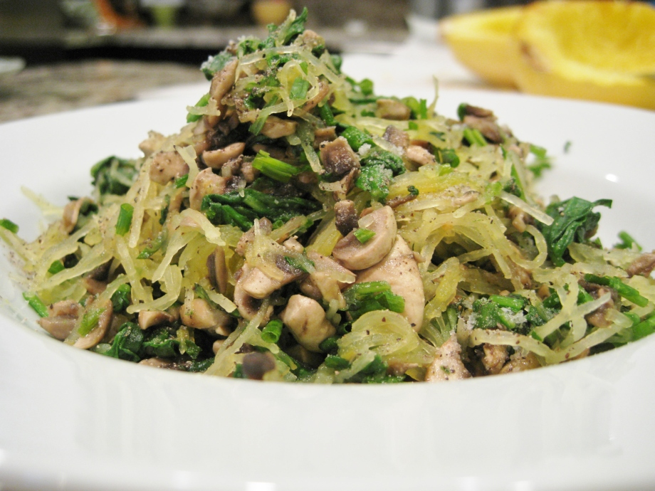 Mushroom Spinach Spaghetti Squash with Fresh Herbs